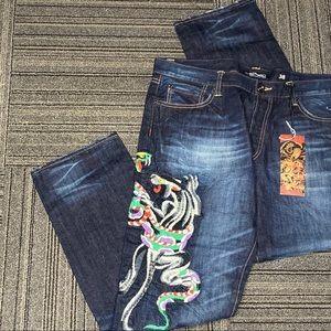 Ed Hardy black panther cobra snake jeans